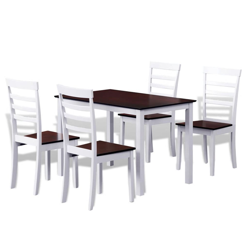 Brown White Solid Wood Dining Table Set with 4 Chairs 1