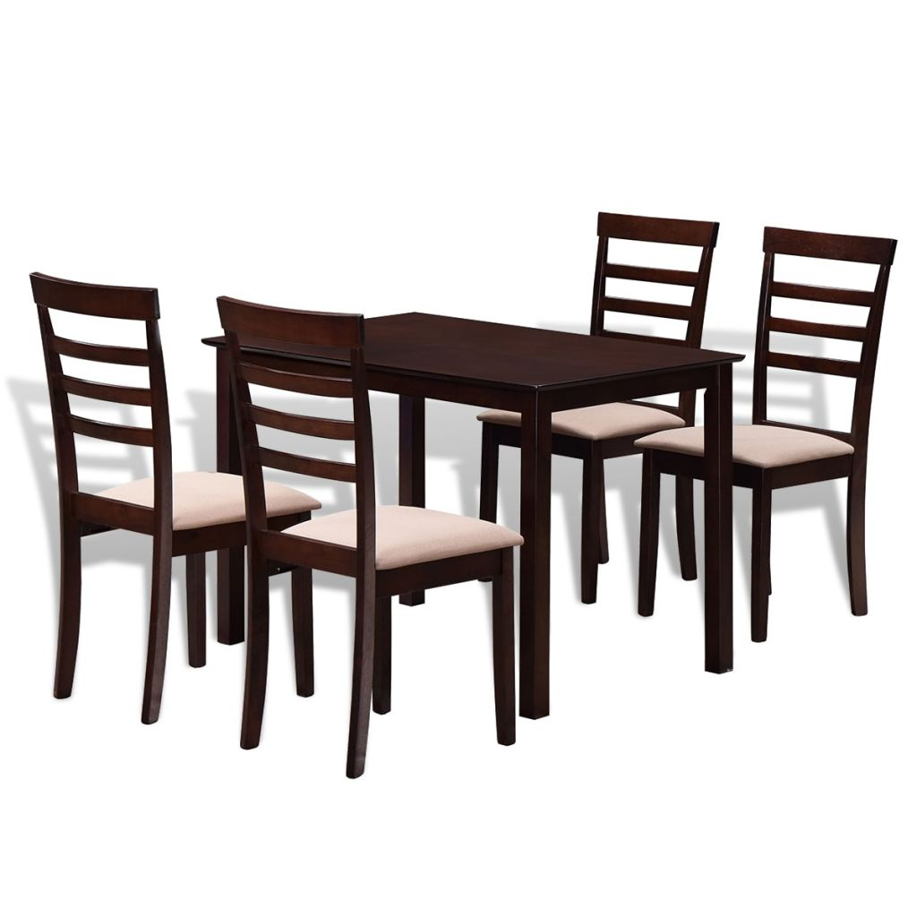 Brown Cream Solid Wood Dining Table Set with 4 Chairs 1