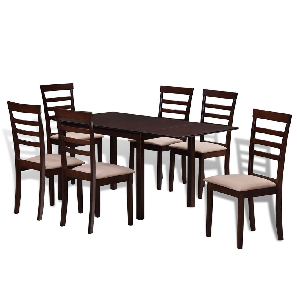 Brown Cream Solid Wood Extending Dining Table Set with 6 Chairs
