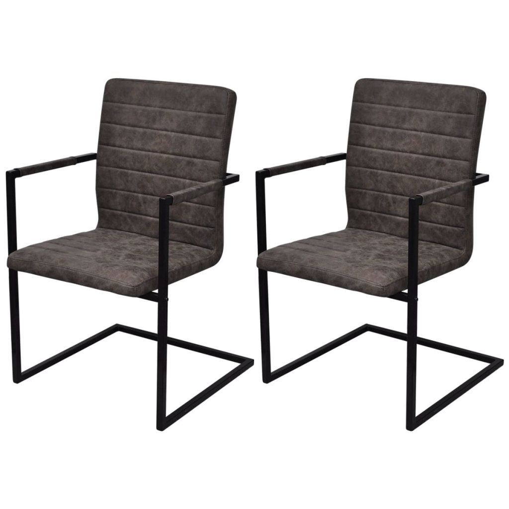 Dining Chairs 2 pcs Brown Faux Leather 1