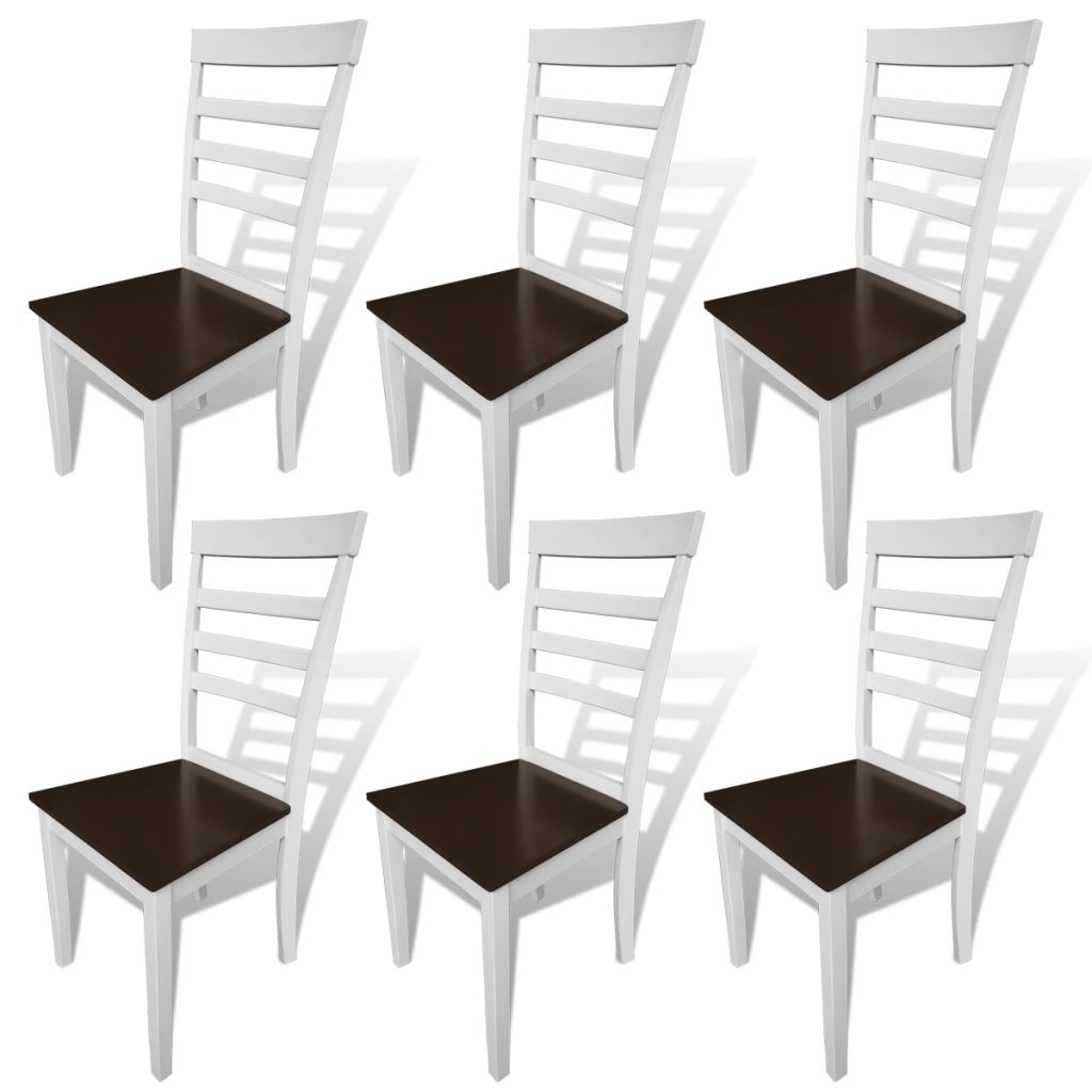 Dining Chairs 6 pcs White and Brown Solid Wood and MDF 1