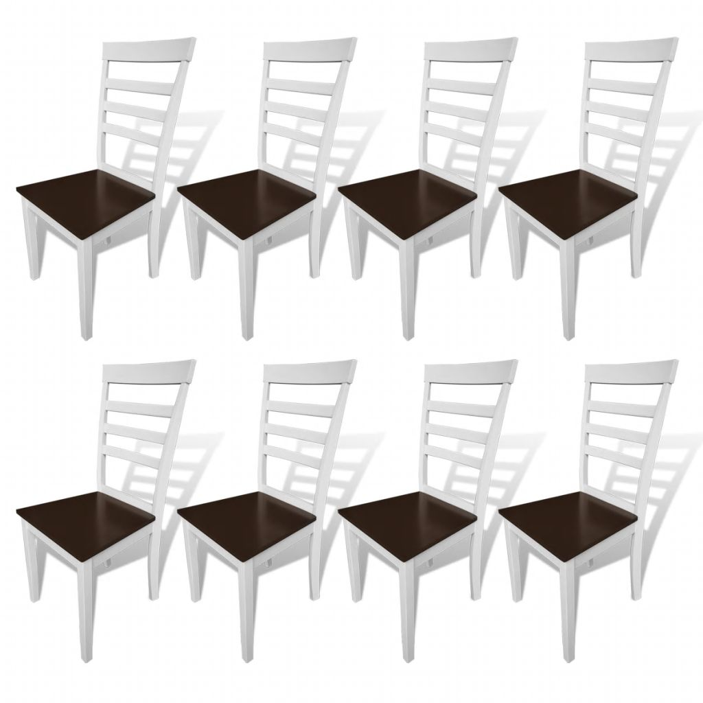 Dining Chairs 8 pcs White and Brown Solid Wood and MDF