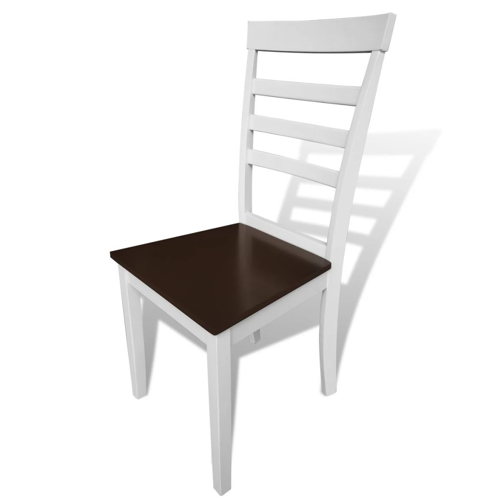 Dining Chairs 8 pcs White and Brown Solid Wood and MDF 2