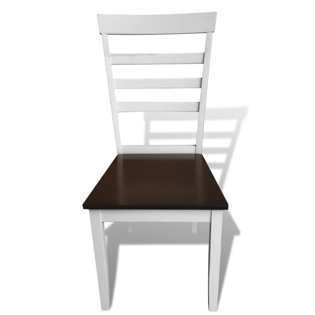 Dining Chairs 8 pcs White and Brown Solid Wood and MDF 3