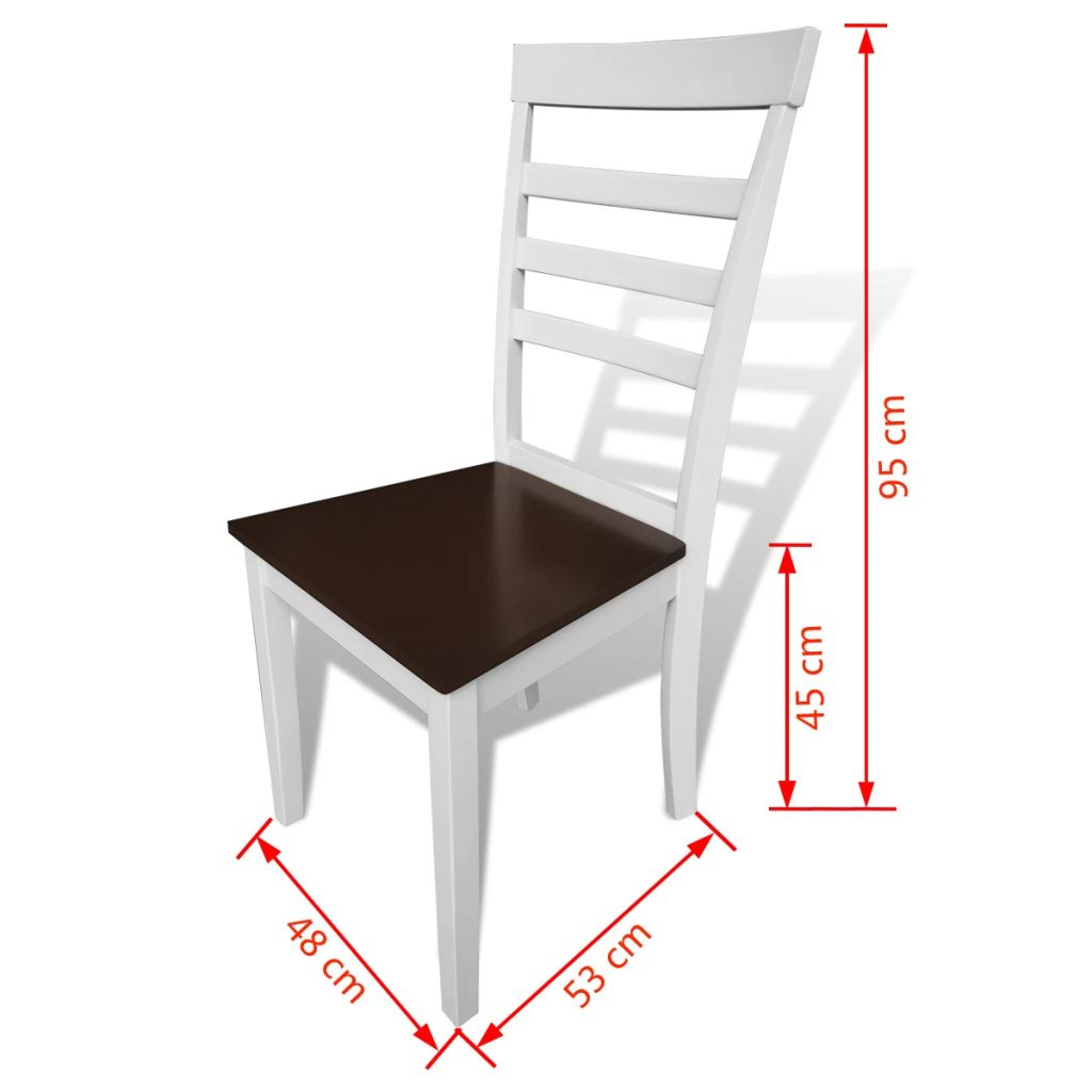 Dining Chairs 8 pcs White and Brown Solid Wood and MDF 4
