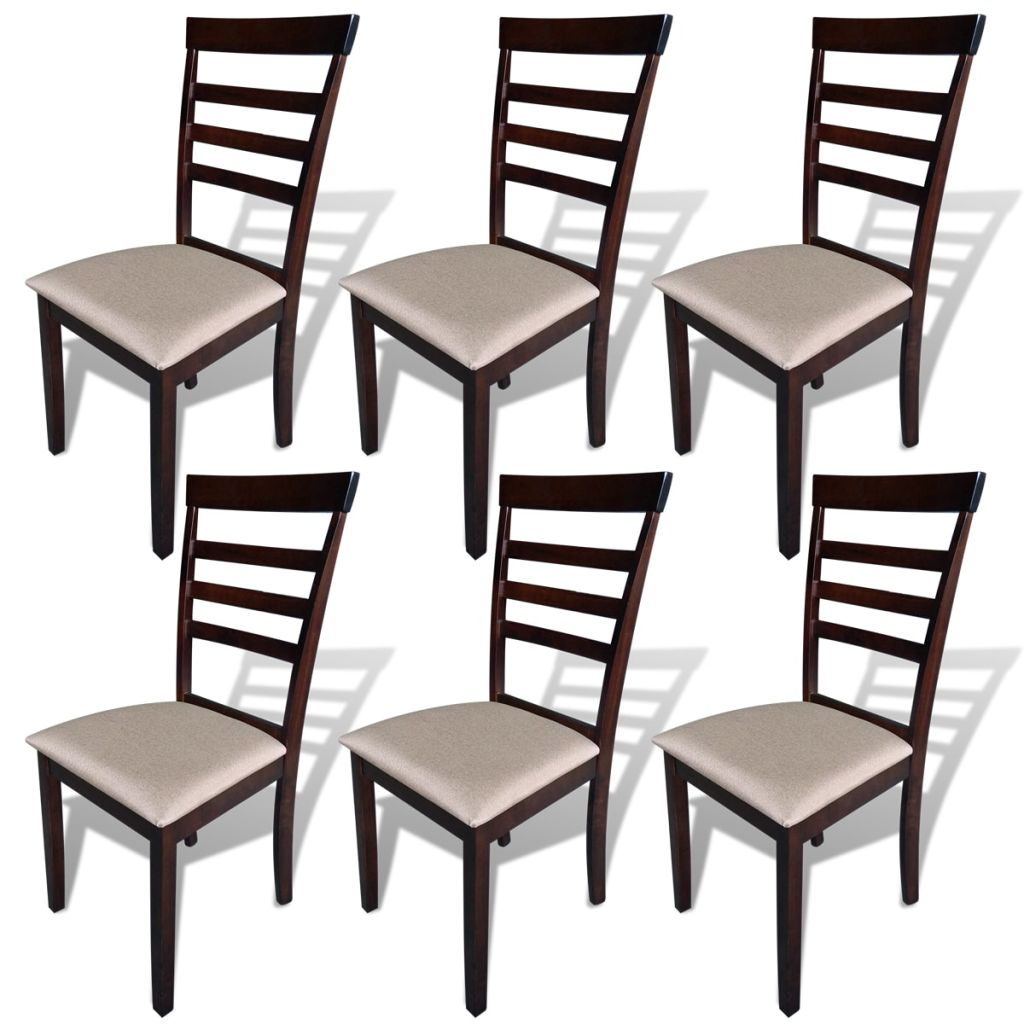 Dining Chairs 6 pcs Brown and Cream Solid Wood and Fabric