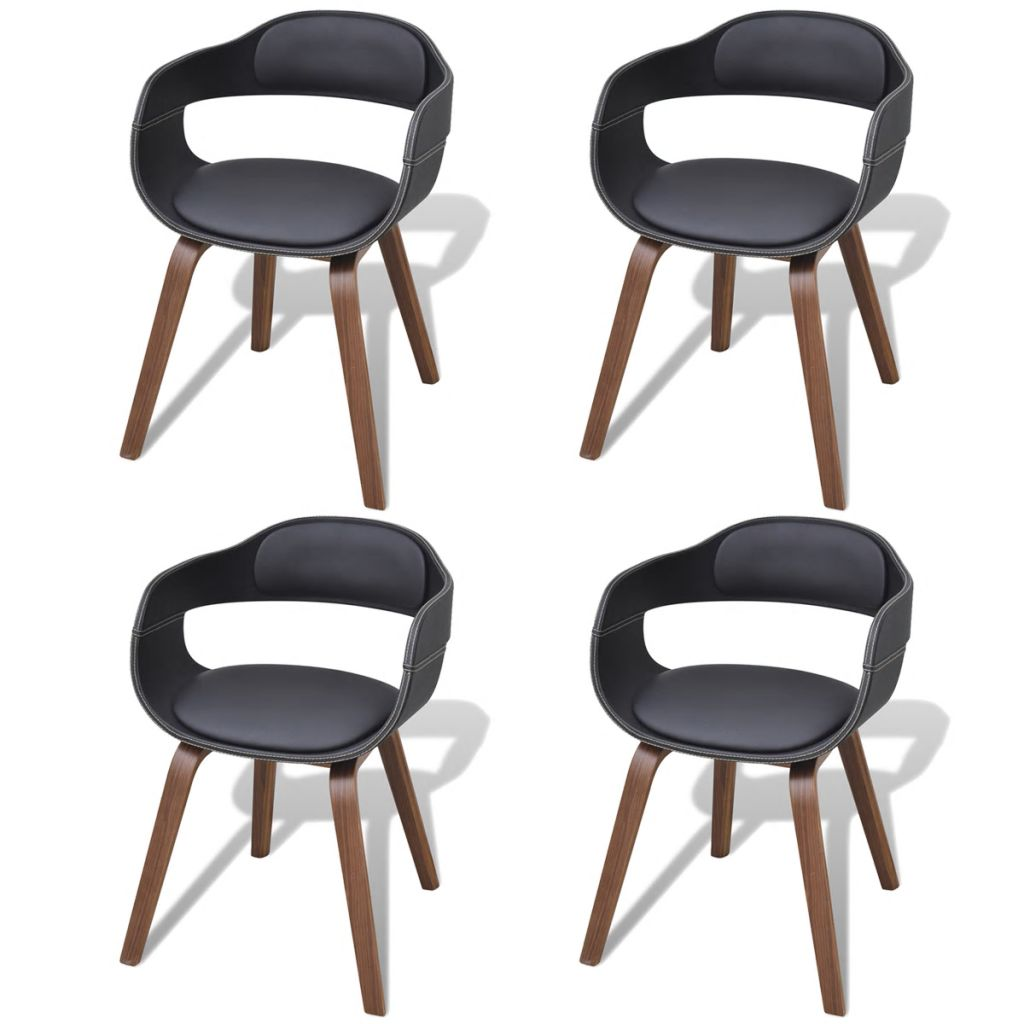Dining Chairs 4 pcs Black Bent Wood and Faux Leather