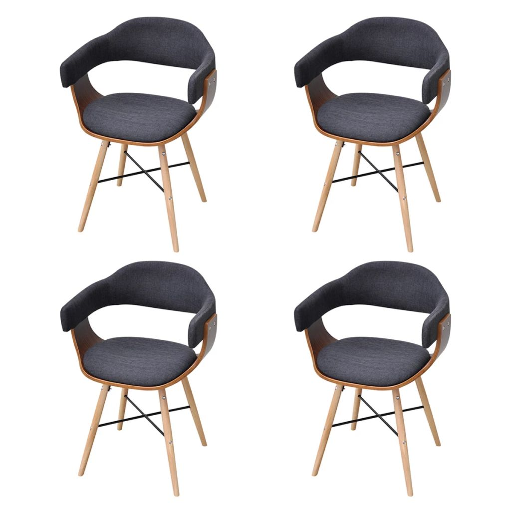 Dining Chairs 4 pcs Dark Grey Bent Wood and Fabric 2