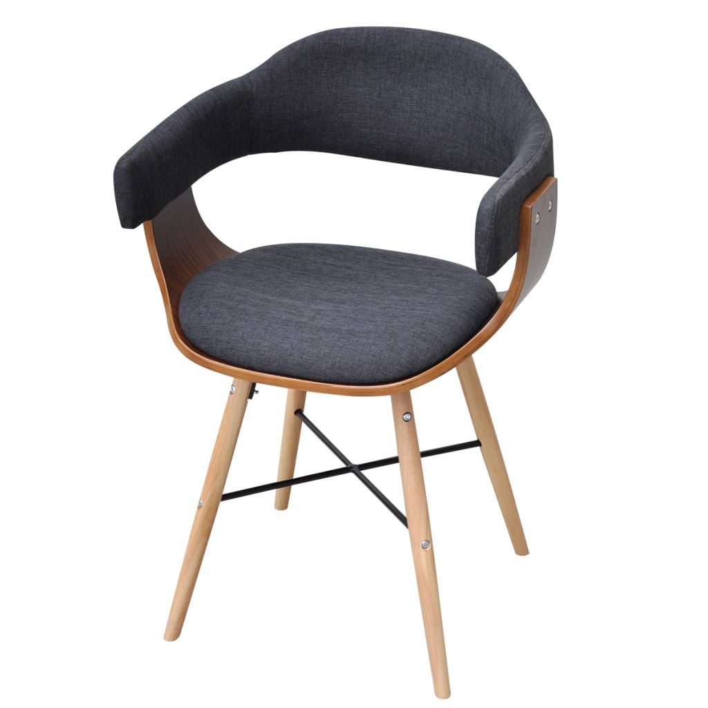 Dining Chairs 4 pcs Dark Grey Bent Wood and Fabric 3