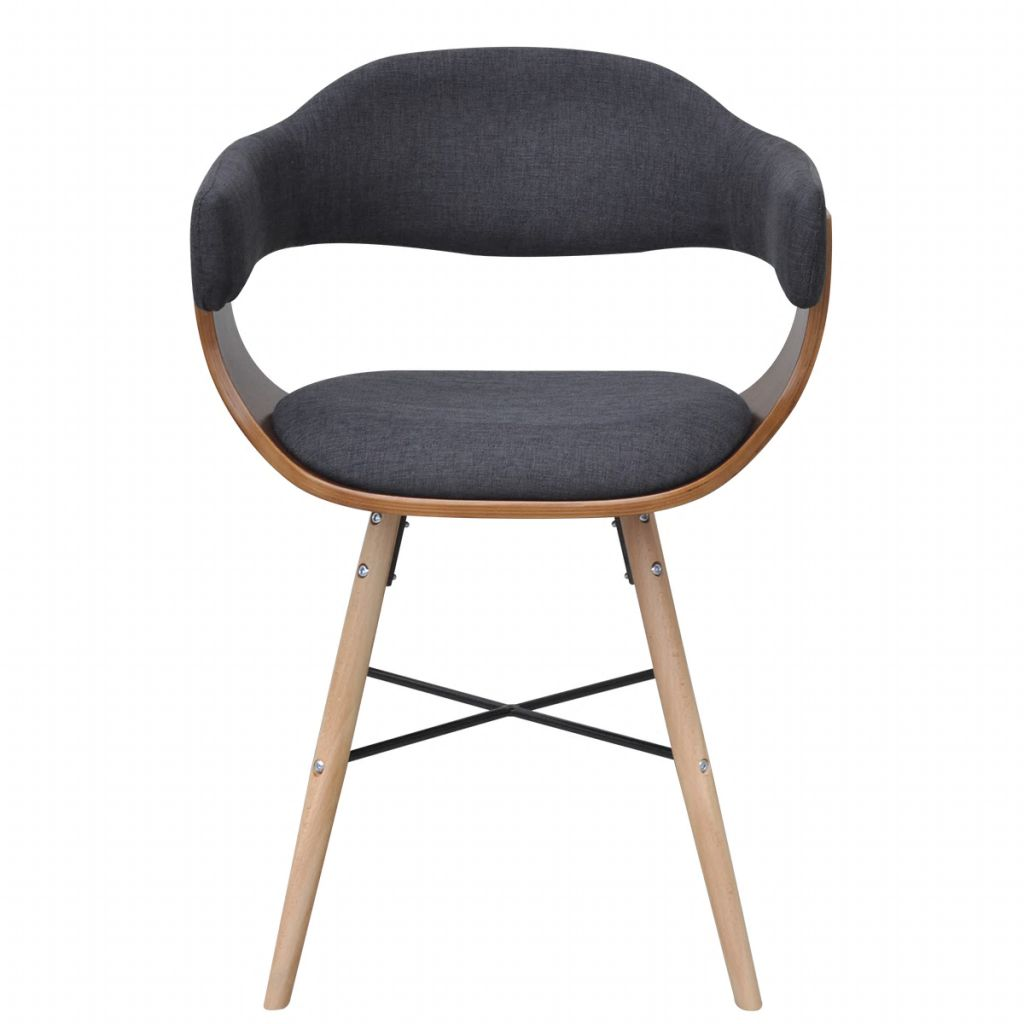 Dining Chairs 4 pcs Dark Grey Bent Wood and Fabric 4