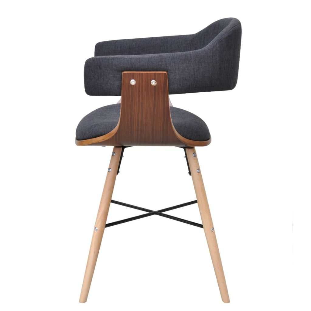 Dining Chairs 4 pcs Dark Grey Bent Wood and Fabric 5