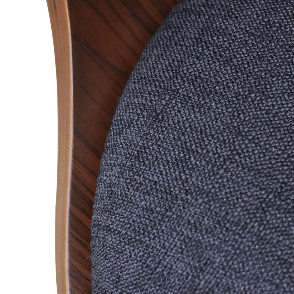 Dining Chairs 4 pcs Dark Grey Bent Wood and Fabric 6