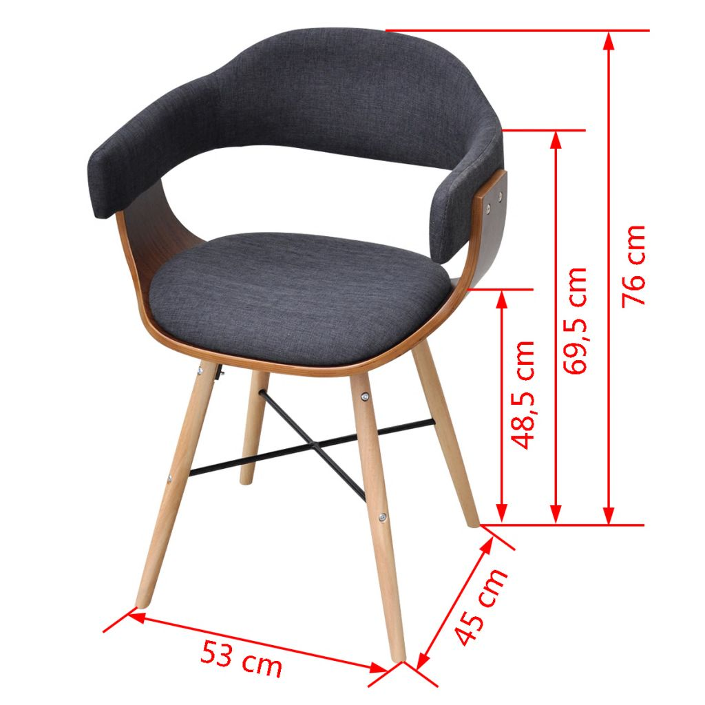 Dining Chairs 4 pcs Dark Grey Bent Wood and Fabric 7