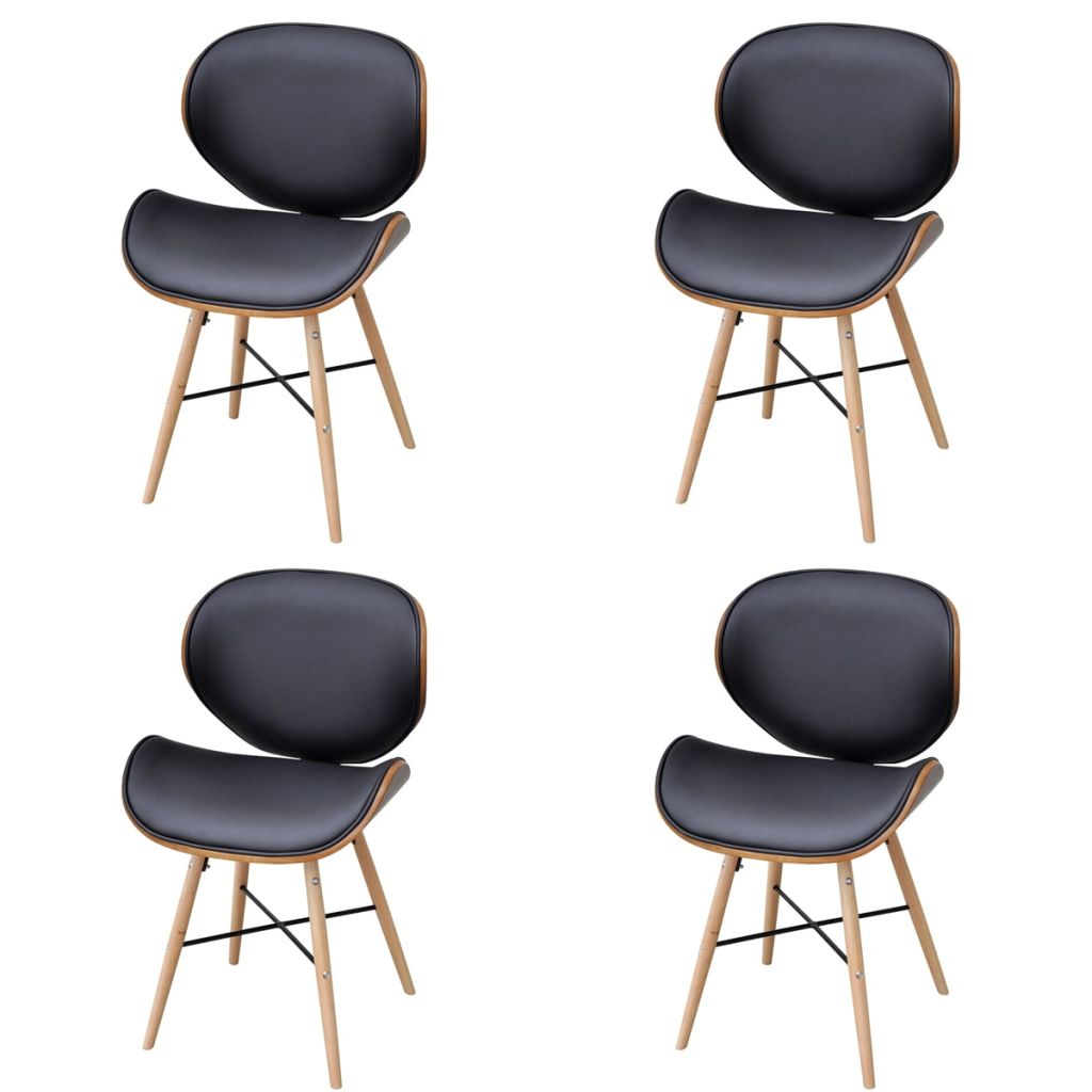 Dining Chairs 4 pcs Bentwood and Faux Leather