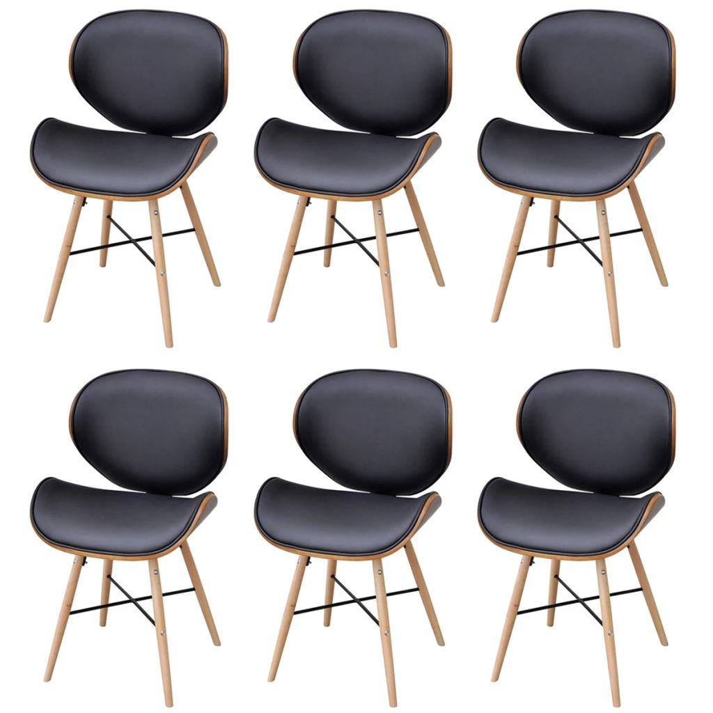 Dining Chairs 6 pcs Bentwood and Faux Leather