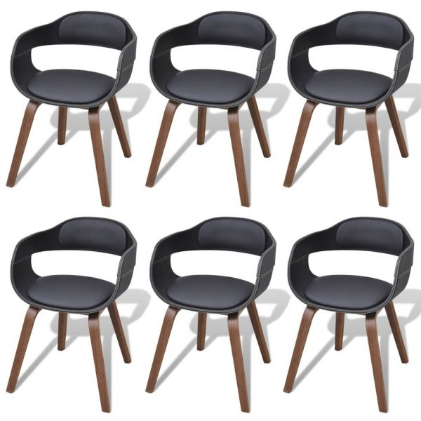 Dining Chairs 6 pcs Black Bent Wood and Faux Leather 1