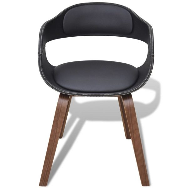 Dining Chairs 6 pcs Black Bent Wood and Faux Leather 3