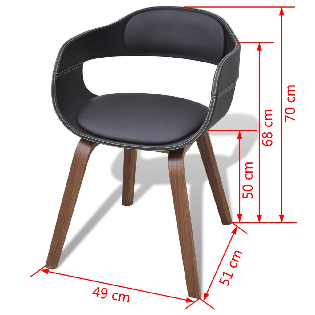 Dining Chairs 6 pcs Black Bent Wood and Faux Leather 6