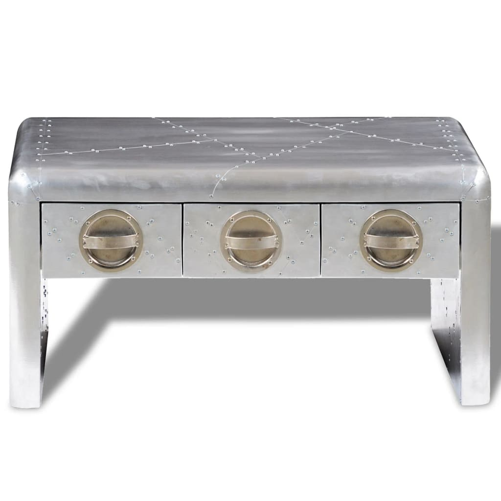 Aviator Coffee Table 3 Drawers Vintage Aircraft Airman Style 2