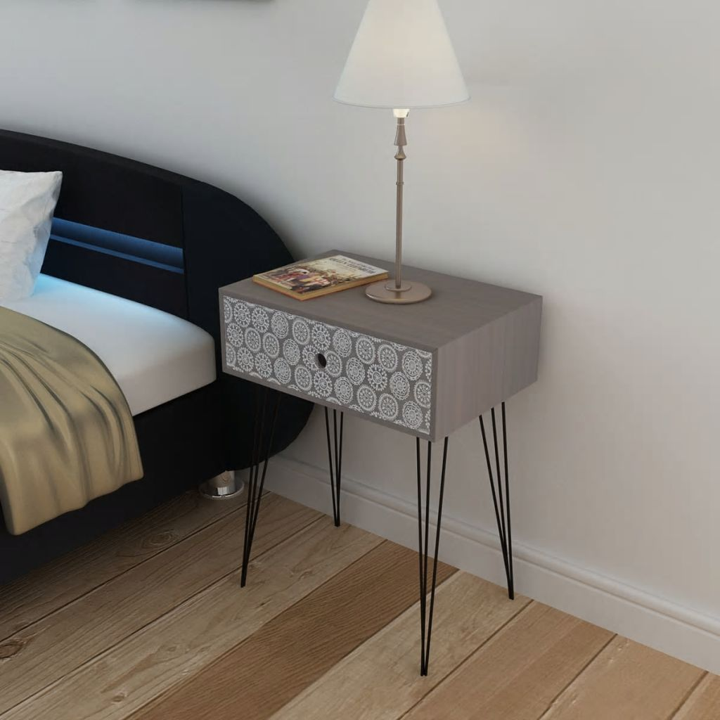 Nightstand with 1 Drawer Rectangular Grey