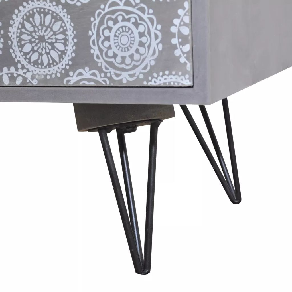 Nightstand with 3 Drawers Grey 4