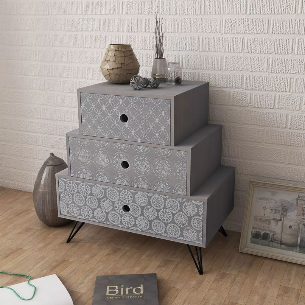 Nightstand with 3 Drawers Grey 1