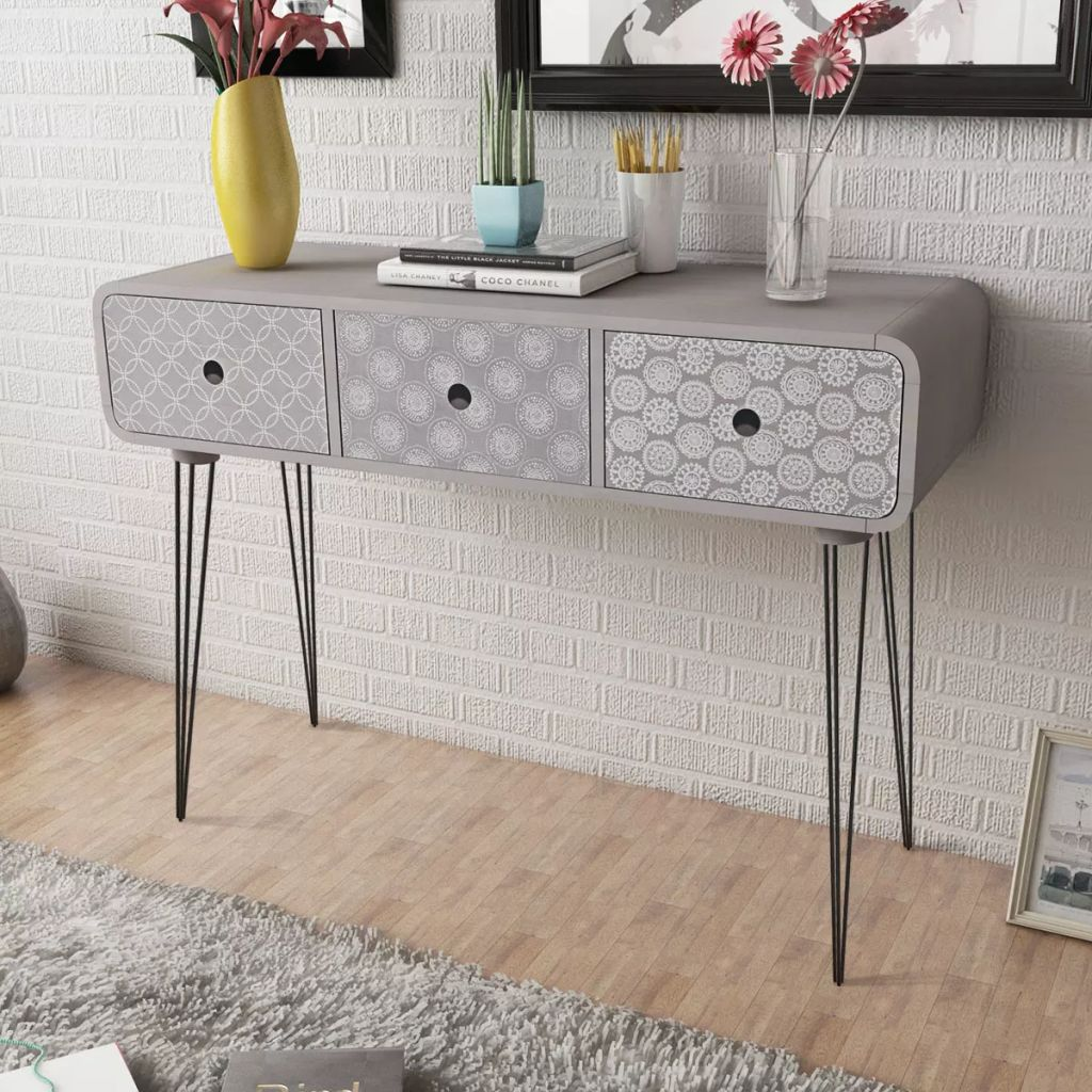 Console Table with 3 Drawers Grey 1