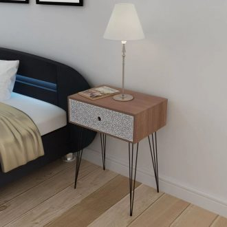 Nightstand with 1 Drawer Rectangular Brown 1