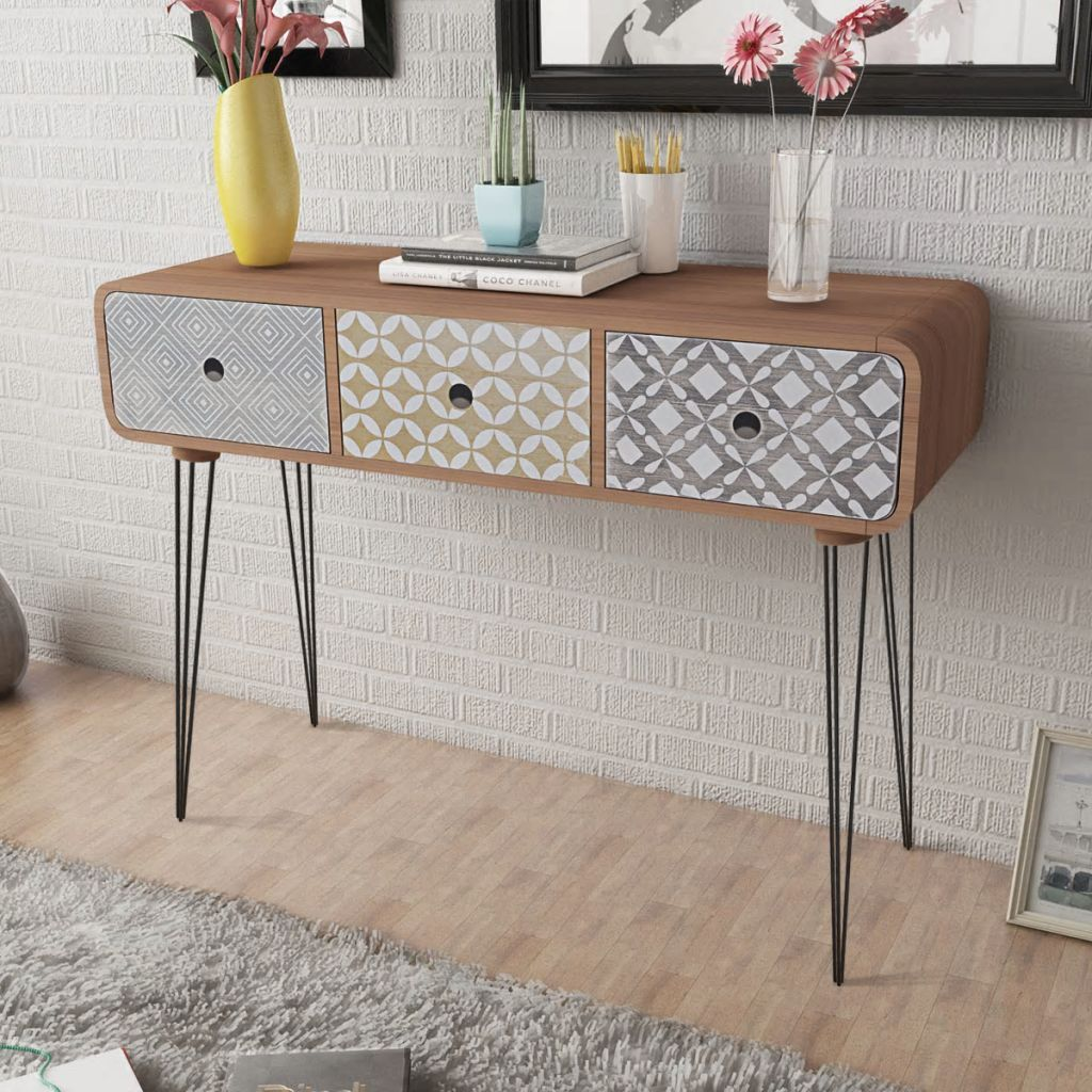 Console Table with 3 Drawers Brown 1