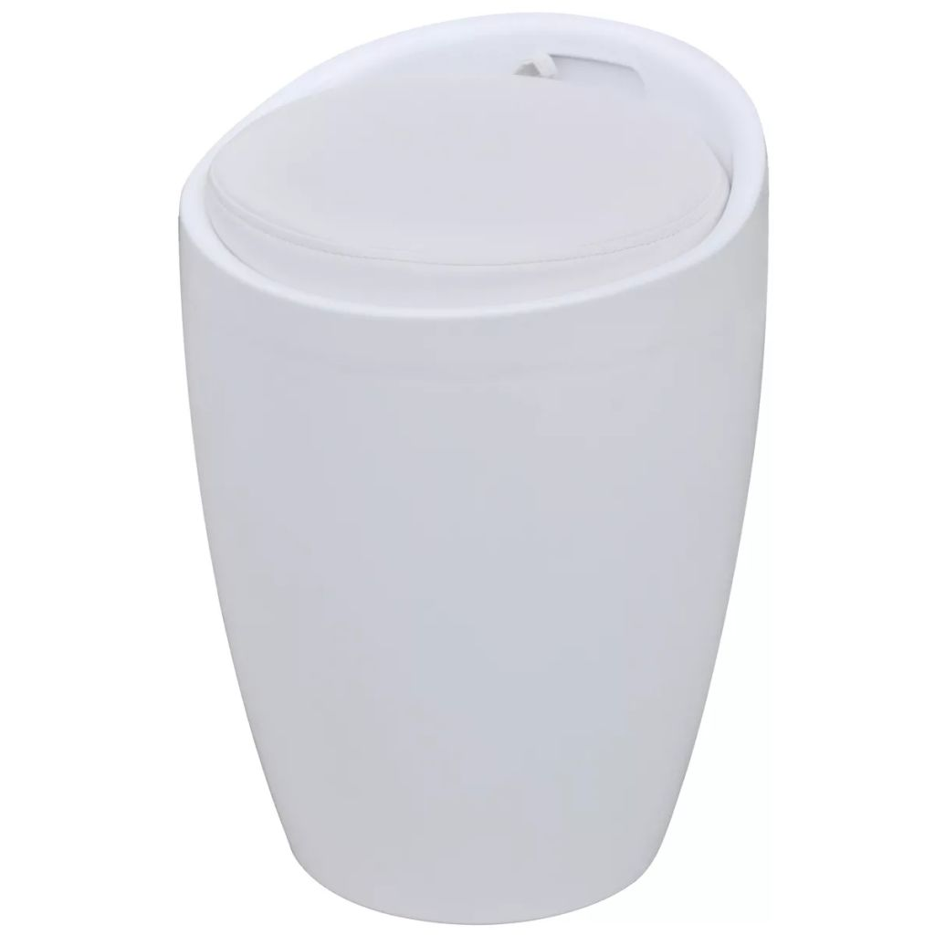 Stool White Faux Leather 1