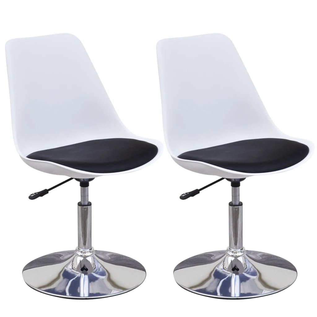 Swivel Dining Chairs 2 pcs White and Black Faux Leather 2