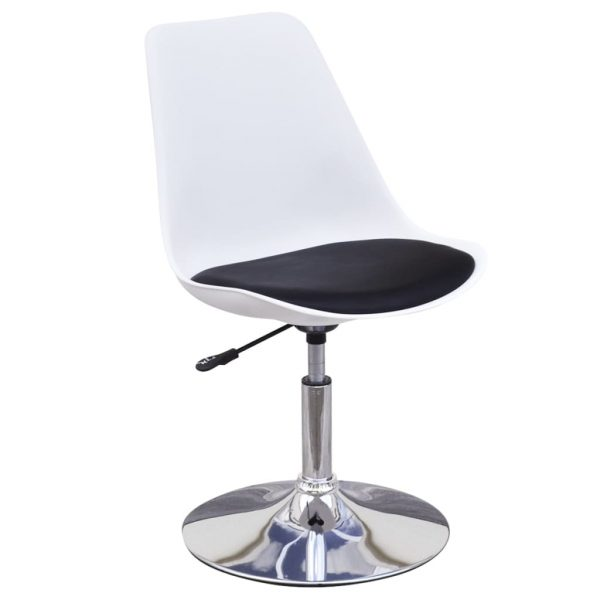 Swivel Dining Chairs 2 pcs White and Black Faux Leather 3