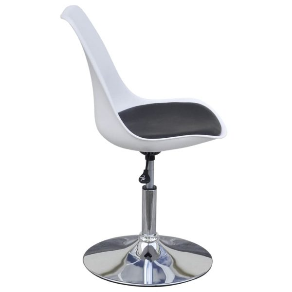 Swivel Dining Chairs 2 pcs White and Black Faux Leather 4