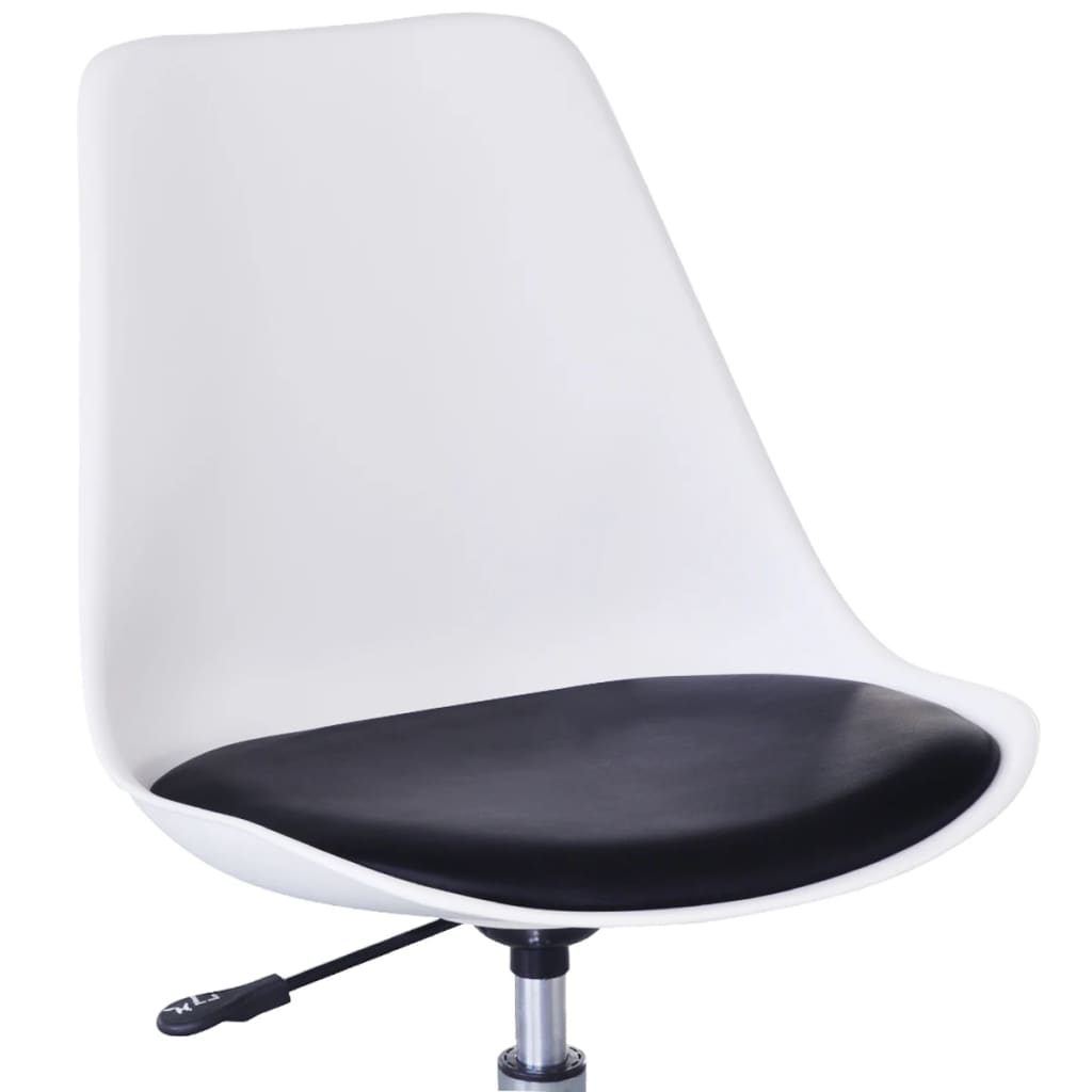 Swivel Dining Chairs 2 pcs White and Black Faux Leather 5