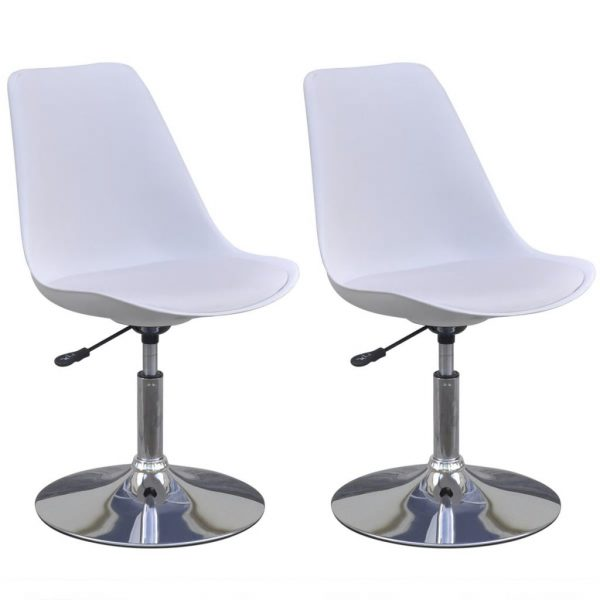 Swivel Dining Chairs 2 pcs White Faux Leather 2