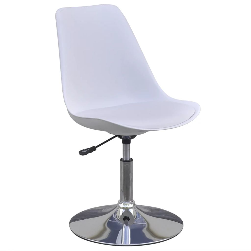 Swivel Dining Chairs 2 pcs White Faux Leather 3