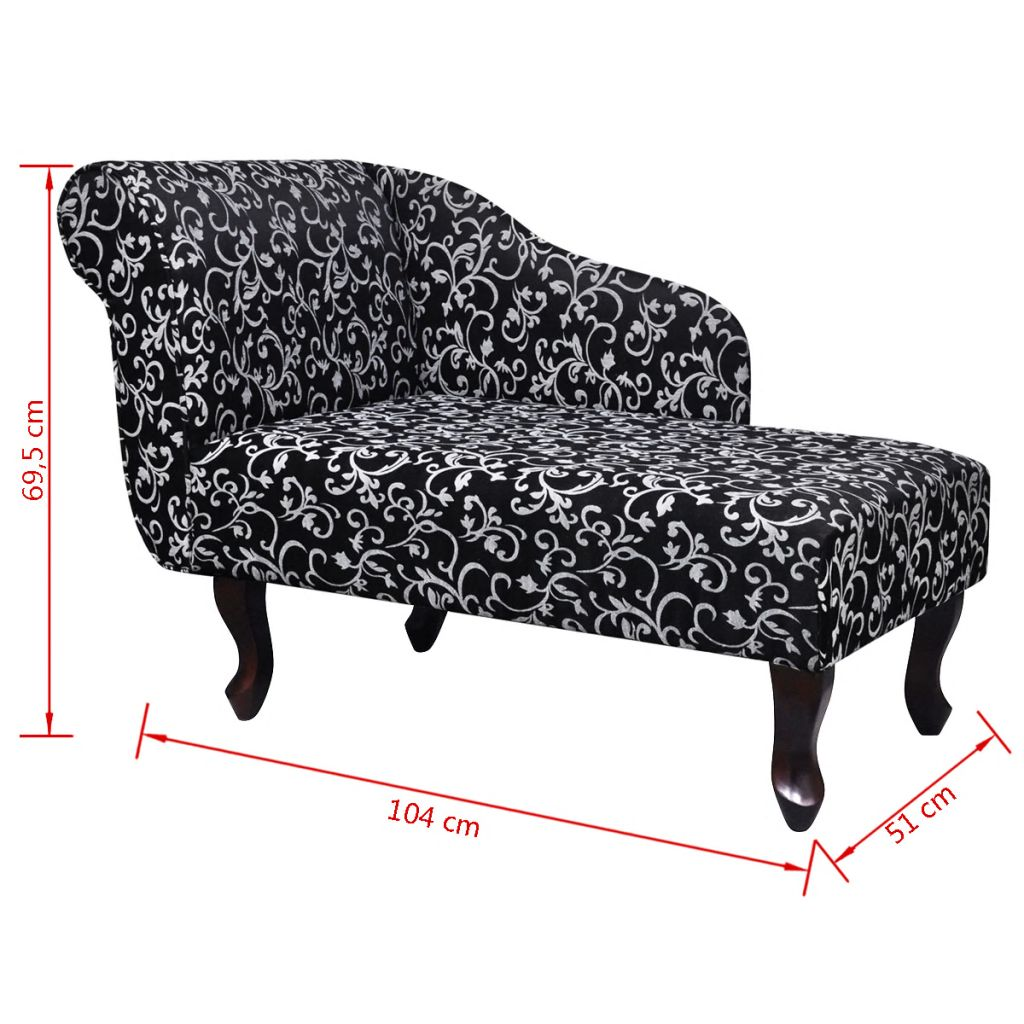 Chaise Longue Black and White Fabric 5