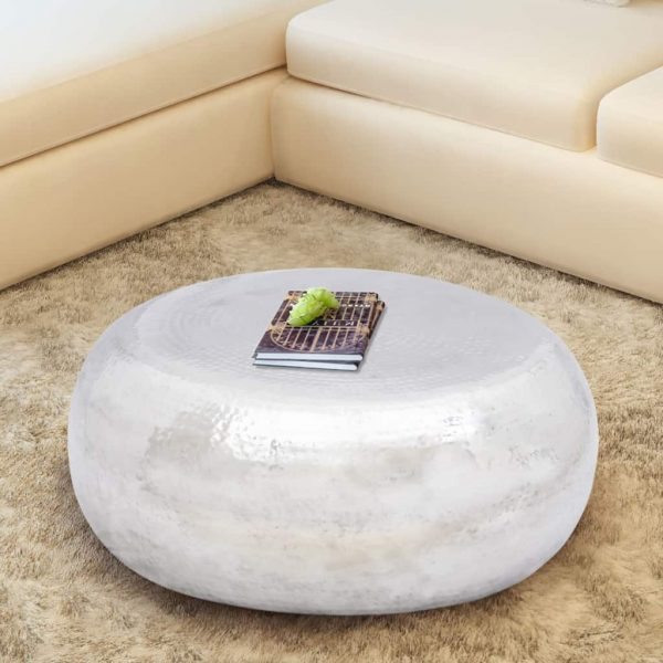Hammered Coffee Table Aluminium Silver 2