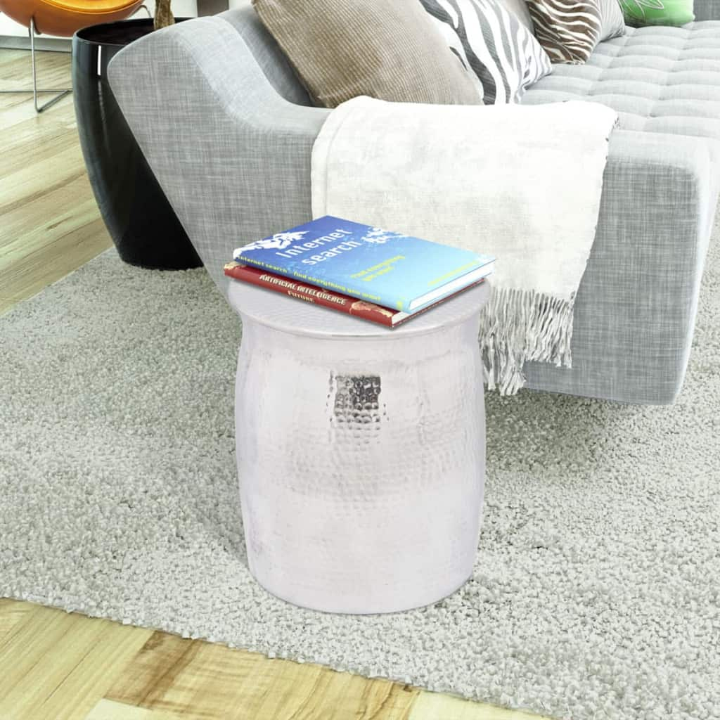 Hammered Aluminium Stool/Side Table Silver 2