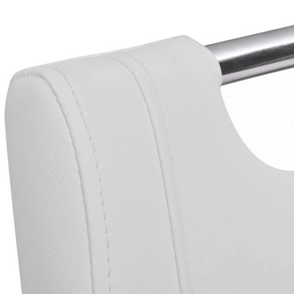 Dining Chairs 2 pcs White Faux Leather 4
