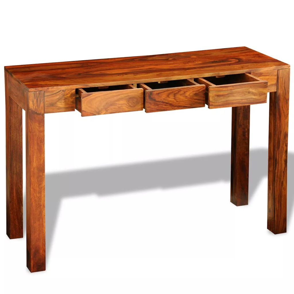 Console Table with 3 Drawers 80 cm Solid Sheesham Wood 1