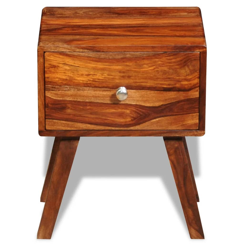 Nightstand with 1 Drawer 55 cm Solid Sheesham Wood 3