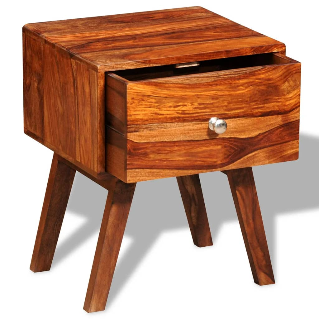 Nightstand with 1 Drawer 55 cm Solid Sheesham Wood 4