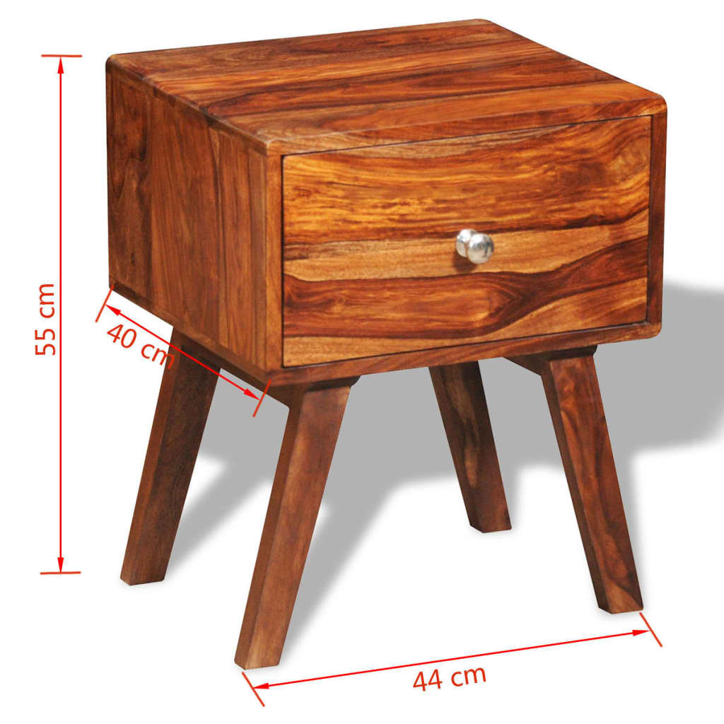 Nightstand with 1 Drawer 55 cm Solid Sheesham Wood 6