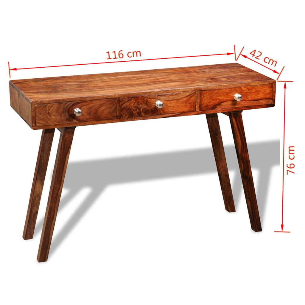 Console Table with 3 Drawers 76 cm Solid Sheesham Wood 8