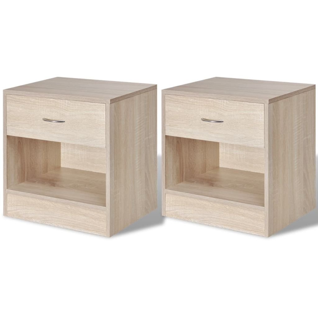 Nightstand 2 pcs with Drawer Oak Colour