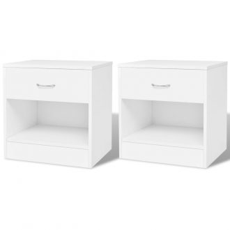 Nightstand 2 pcs with Drawer White 1