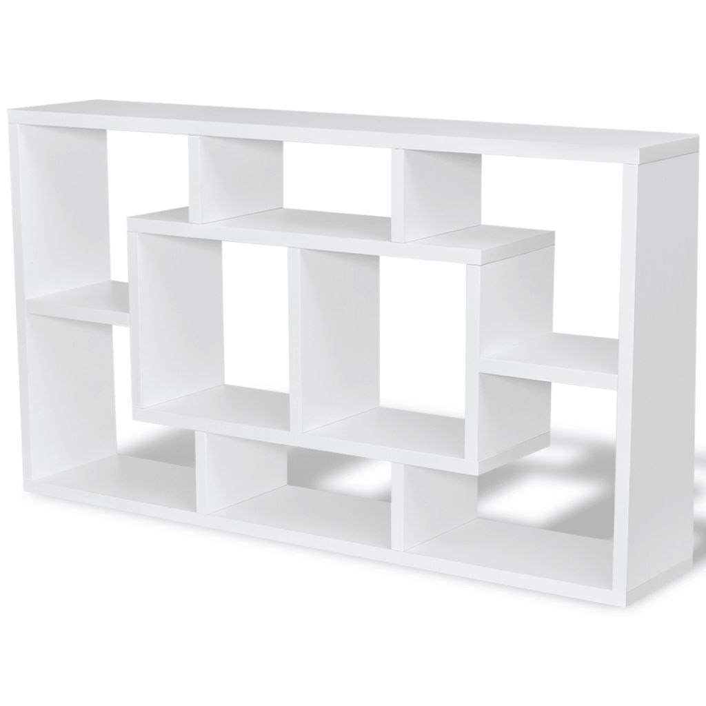 Floating Wall Display Shelf 8 Compartments White 2