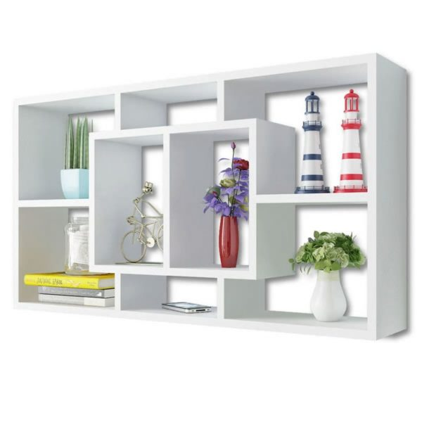Floating Wall Display Shelf 8 Compartments White 3