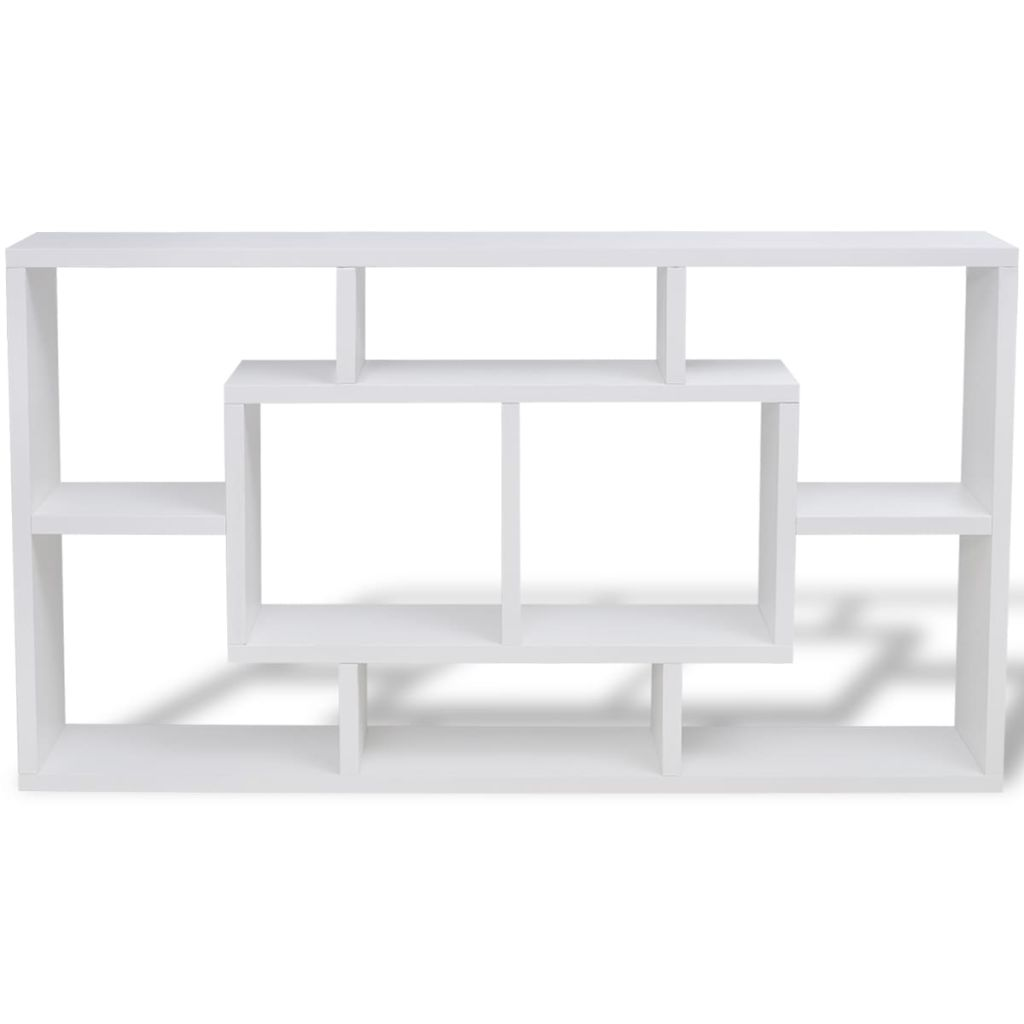 Floating Wall Display Shelf 8 Compartments White 4